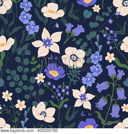 Elegant Seamless Floral Pattern With Bluebells And Anemones. Endless Design With Gorgeous Wild Flowe