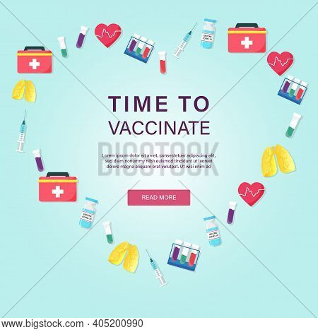 Covid-19 Corona Virus Vaccination Poster With Syringe, First-aid Kit, Bottle Of Vaccine, Test Tube,