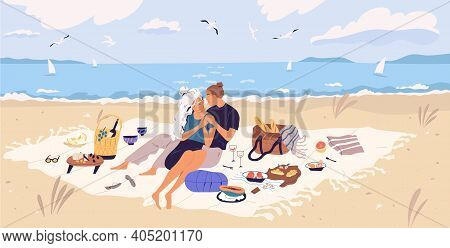 Happy Couple Hugging On Picnic Blanket At Seaside. Young Man And Woman Spending Time Together With W