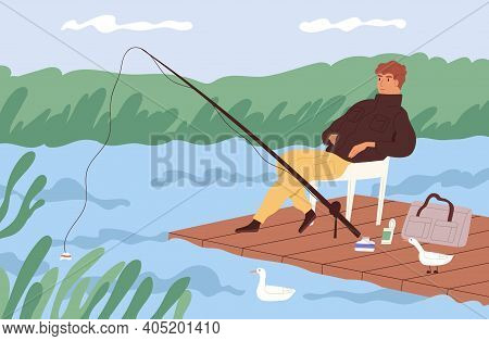 Fisherman Sitting With Fishing Rod And Watching At Float In Lake. Fisher Catching Fish At Wooden Doc