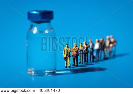 People Waiting In Line For Vaccine Concept