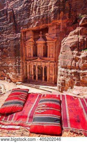 Ancient Petra In Jordan - Siq And The Treasury Al Khazneh In Wadi Musa One Of The New Seven Wonders
