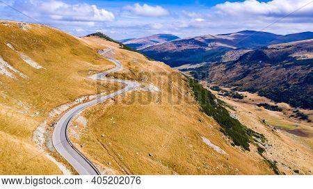 Transalpina, Romania. Beautiful Highest Altitude Road In Romania Crossing The Romanian Carpathhian M