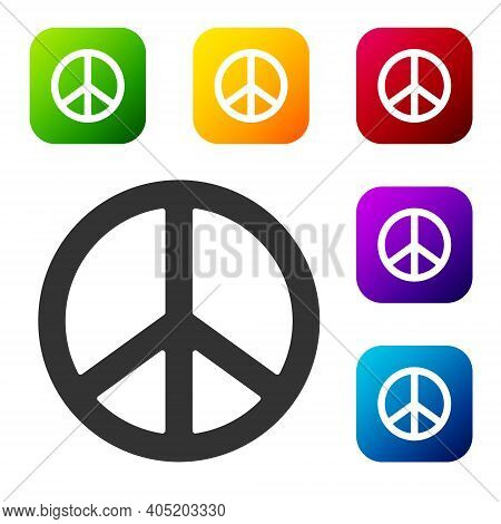 Black Peace Icon Isolated On White Background. Hippie Symbol Of Peace. Set Icons In Color Square But