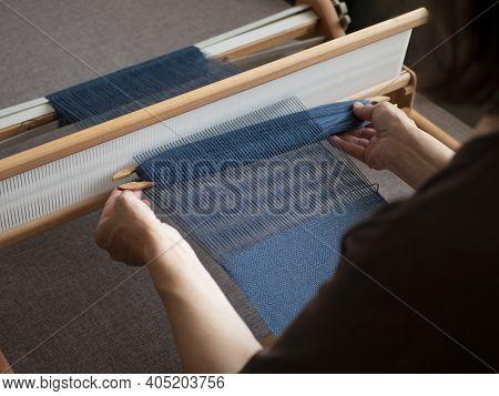 Weaving Cloth Using Denim Blue Threads, Single Shuttle Loom