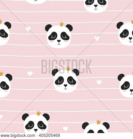 Cute Panda Seamless Pattern, Animal Background With Panda In Crown And Hearts Isolated On Pink, Vect