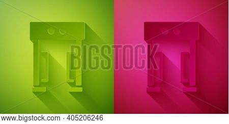 Paper Cut Metal Detector Icon Isolated On Green And Pink Background. Airport Security Guard On Metal