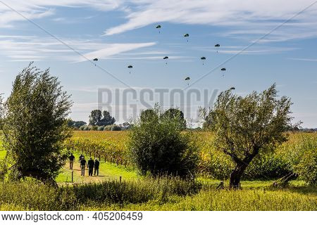 Oosterbeek, Netherlands, September 22, 2019: British Paratroopers Landing Near River Rhine Meemorial