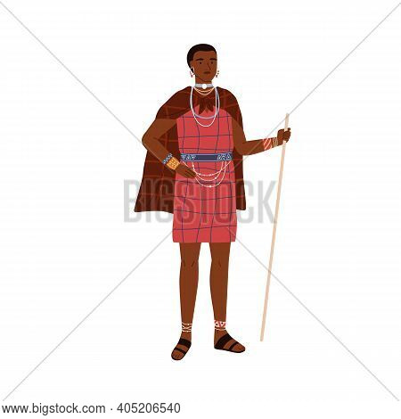 African Woman Of Aboriginal Tribe Holding Stick And Wearing Traditional Ethnic Dress And Tribal Acce