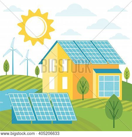 Green Energy An Eco Friendly Modern House. Alternative Energy. Environmentally Friendly Landscape Wi