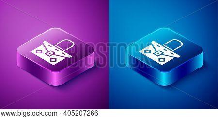Isometric Handbag Icon Isolated On Blue And Purple Background. Female Handbag Sign. Glamour Casual B