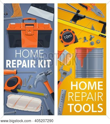 Home Repair And Renovation Tools Posters. Toolbox, Measuring Tape And Hammer, Tile Cutter, Paint Bru