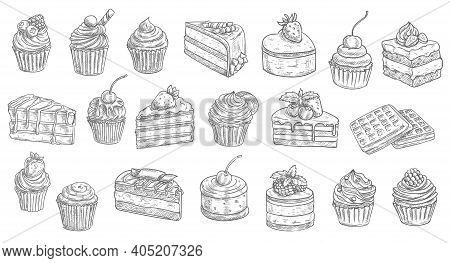 Cakes And Cheesecakes Sketch, Pastry Desserts And Sweet Food Vector Hand Drawn Icons. Bakery And Pas