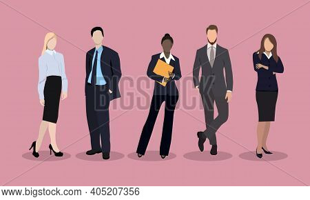 Business People Are Led By A Leader. Vector Illustration. Business Characters Set. International Bus