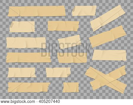 Adhesive Or Duct Tape Crumpled Stripes Mockups Set. Sticky Masking Or Insulating Tape With Torn Side