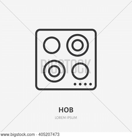 Hob Flat Line Icon. Vector Outline Illustration Of Induction Cooktop. Black Color Thin Linear Sign F