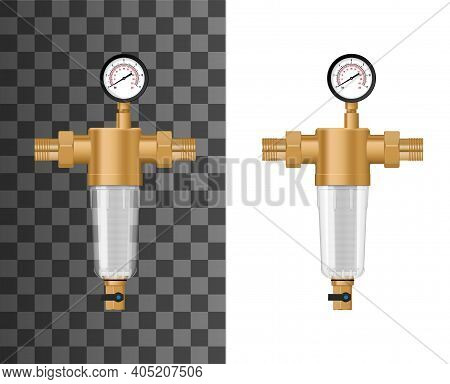 Whole House Water Sediment Filter System Mock Up. Backwash Filter With Copper Or Brass Housing And T