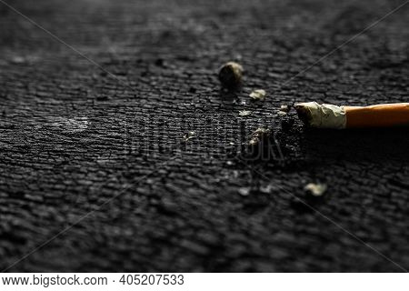 Addictive Substance, Narcotic, Habit-forming Substance Concept. Cigarettes On Old Wood. Black And Wh