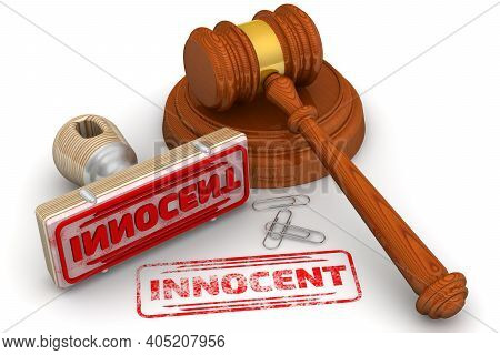Innocent. The Stamp And An Imprint. Wooden Stamp And Red Imprint Innocent With Judge's Hammer On Whi
