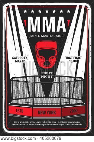 Mixed Martial Arts Tournament Grungy Flyer Or Poster. Illuminated With Searchlights Mma Octagon Cage