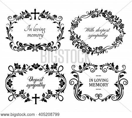 Funeral Mourning Frames With Roses And Lily Flowers Engraved Arrangements. Funerary Memorial Plates