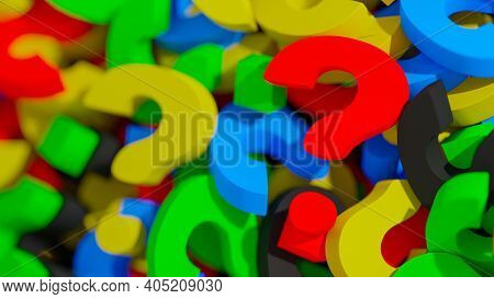 Business Question Concept. Colorful Question Marks Laying In A Stack With Focus On Single Red Questi
