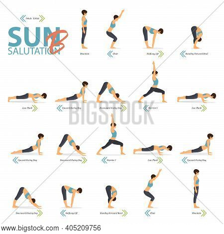 Infographic Of Yoga Poses For Yoga At Home In Concept Of Yoga Sun Salutation B In Flat Design. Woman