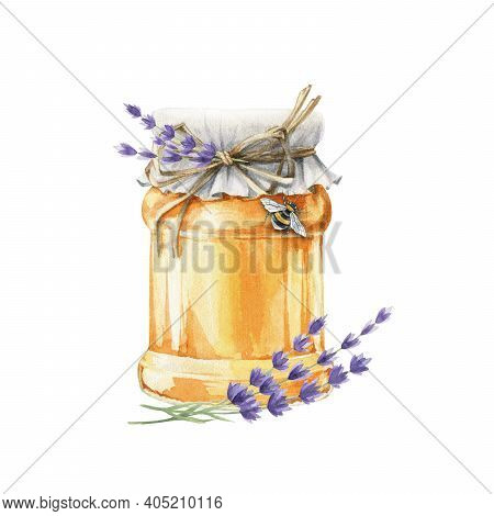 Honey Or Jam Glass Jar With Lavender Flowers Watercolor Image. Realistic Organic Healthy Sweet Desse