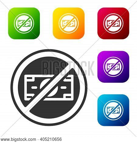 Black No Money Icon Isolated On White Background. Prohibition Of Money. Set Icons In Color Square Bu