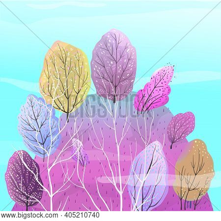 Abstract Nature Background With Trees Growing On The Hill, Leaves And Grass In Violet Colors. Trees