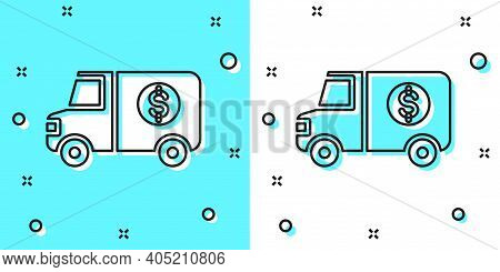 Black Line Armored Truck Icon Isolated On Green And White Background. Random Dynamic Shapes. Vector