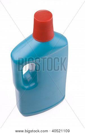 Blue Plastic Bottle Of Dettergent On White Background