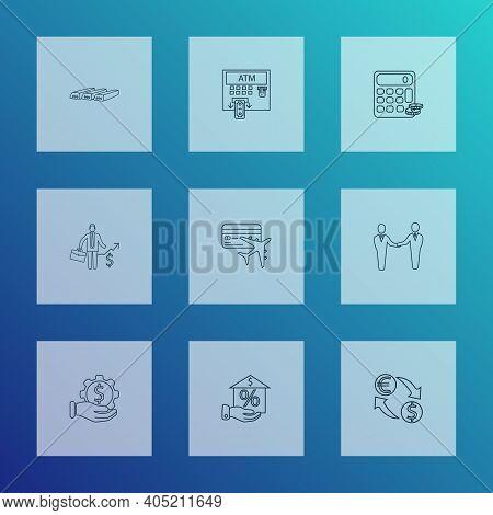 Economy Icons Line Style Set With Financial Service, Bullion, Partnership And Other Change Money Ele