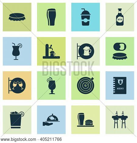 Drink Icons Set With Bottle Opener, Bottle Of Beer, Bottle Cap And Other Cocktail Sign Elements. Iso
