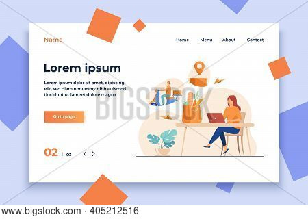 Cartoon Woman With Laptop Ordering Food Online. Courier Riding Motorbike With Parcel Box. Vector Ill