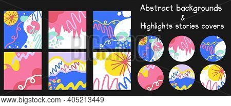 Abstract Doodle Social Highlights Covers And Backgrounds. Modern Round Template Set For Social Media