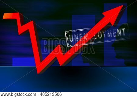 Abstract Unemployment Background. Silhouettes Of A Man's Head Against The Background Of A Growing Gr