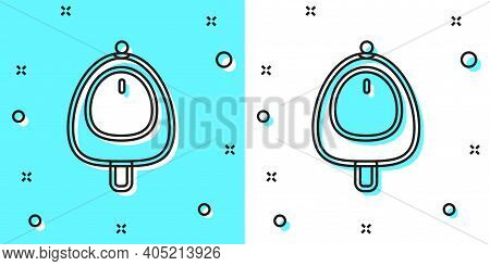 Black Line Toilet Urinal Or Pissoir Icon Isolated On Green And White Background. Urinal In Male Toil