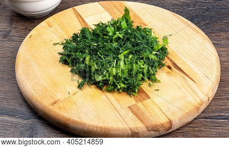 Chopped Dill And Parsley On A Cutting Board. Salad Ingredients.