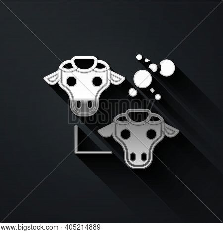 Silver Cloning Icon Isolated On Black Background. Genetic Engineering Concept. Long Shadow Style. Ve
