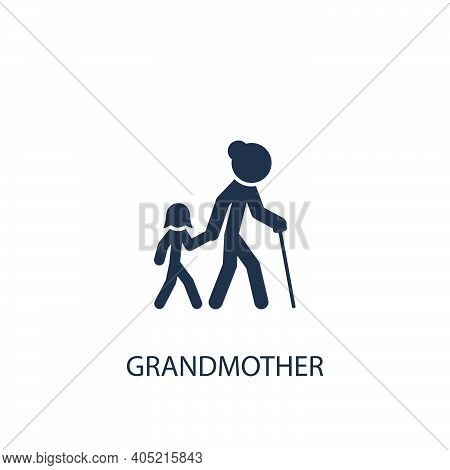 Child With Grandmother Concept Icon. Simple One Colored Family Element Illustration. Vector Symbol D