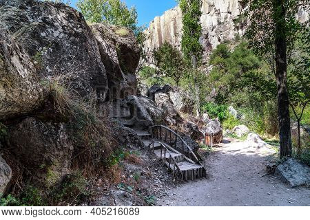 Ihlara, Turkey - October 5, 2020: This Is A Paths And A Staircasres Along The Bottom Of The Canyon O