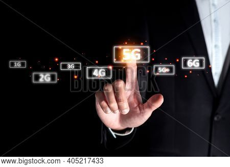 Success Businessman Select On 5g High Speed Instead Of 4g Connect To Internet Online Digital Technol