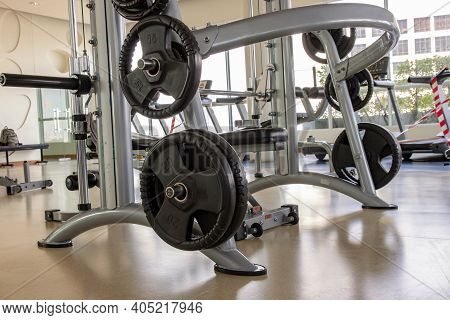 Within Gym Or Fitness Studio With Modern Fitness Equipment For Fitness Events And More. Modern Of Gy
