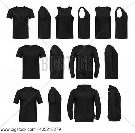 T-shirt, Singlet And Pullover, Hoodie Mockup. Black Crew And V-neck Tee Shirts, Long And Short Sleev