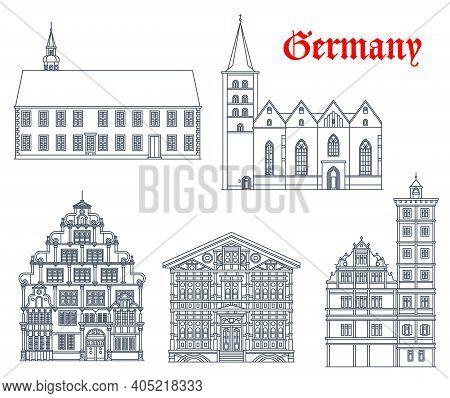 Germany Landmark Buildings, Fachwerk Architecture Houses, Churches And Castles Vector Icons. Junkerh