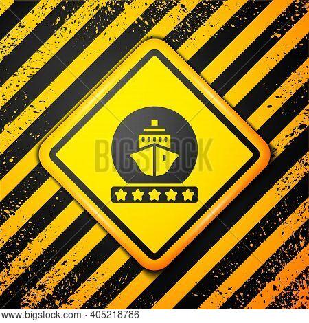 Black Cruise Ship Icon Isolated On Yellow Background. Travel Tourism Nautical Transport. Voyage Pass