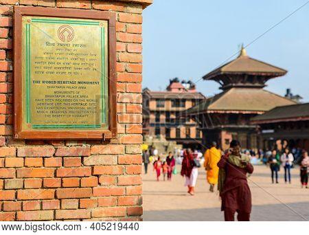 BHAKTAPUR, NEPAL - CIRCA NOVEMBER 2015: Bhaktapur Durbar Square is a UNESCO World Heritage Site.