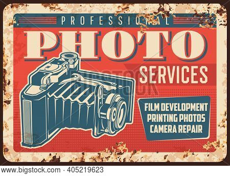 Photo Camera Photography Studio Metal Plate Rusty Or Vintage Poster, Vector. Photograph Studio Salon
