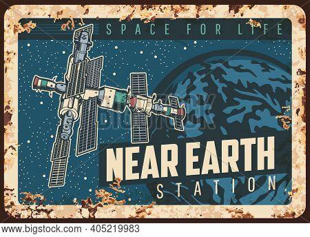 Near Earth Station Vector Rusty Metal Plate, International Orbital Space Station Or Satellite Orbiti